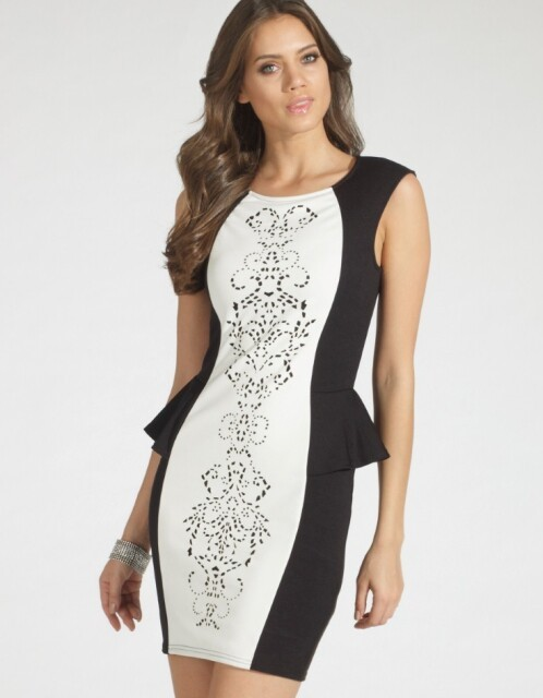 Herve Leger Black And White Sleeveless Printed Peplum Bandage Dress