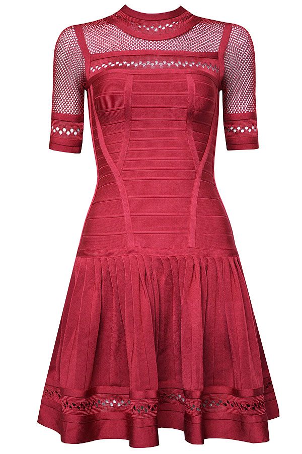 Herve Leger Blue White And Red Multicolor Translucent Lace Net Yarn Mid-sleeve A Line Dress