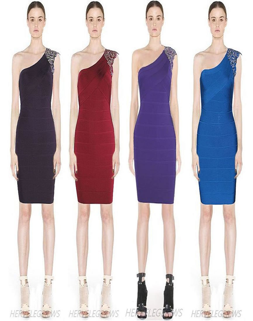 Herve Leger One Shoulder Multicolor Beaded Bandage Dress