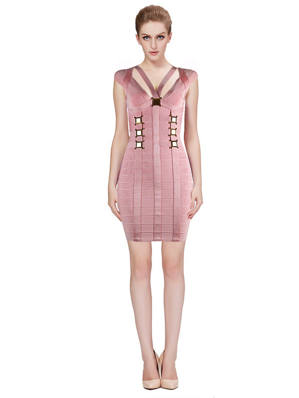 Herve Leger Pink And Black Multicolor V Neck Bandage Dress
