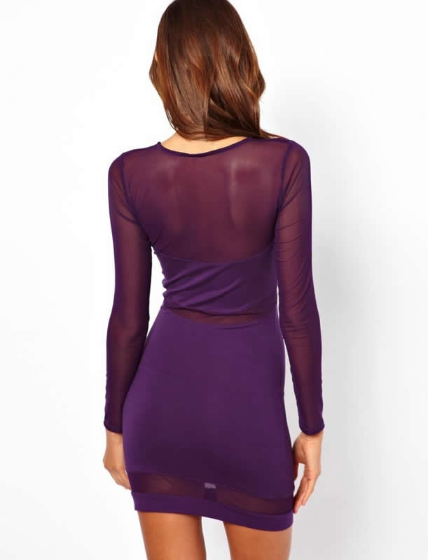Herve Leger Purple Long Sleeve Translucent Bandage Dress