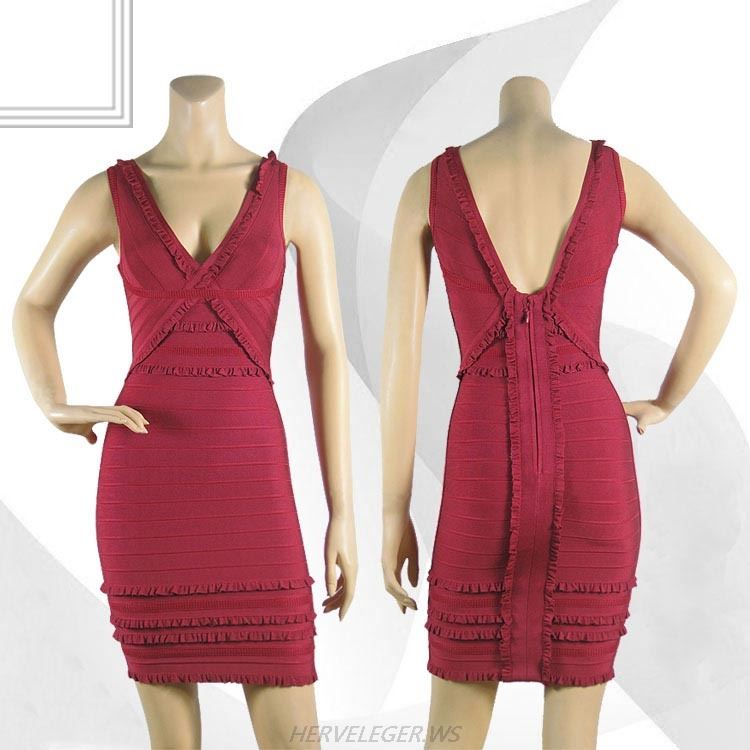 Herve Leger Red V Neck Lace Sleeveless Bandage Dress