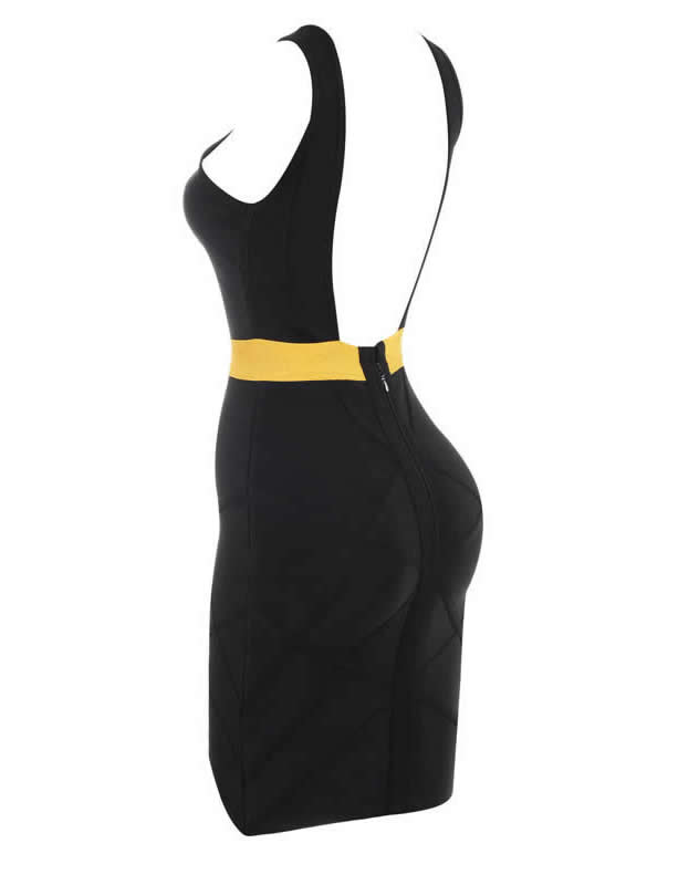 Herve leger Spring 2015 Black V Neck Cutout Bandage Dress