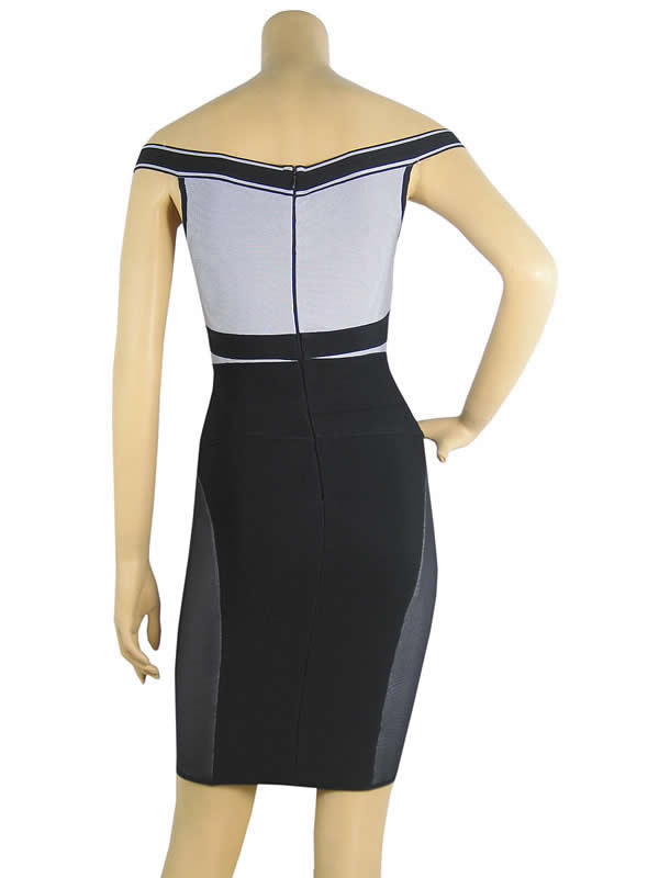 Irina Shayk Dress Herve Leger Black And Grey Halter Bandage dress
