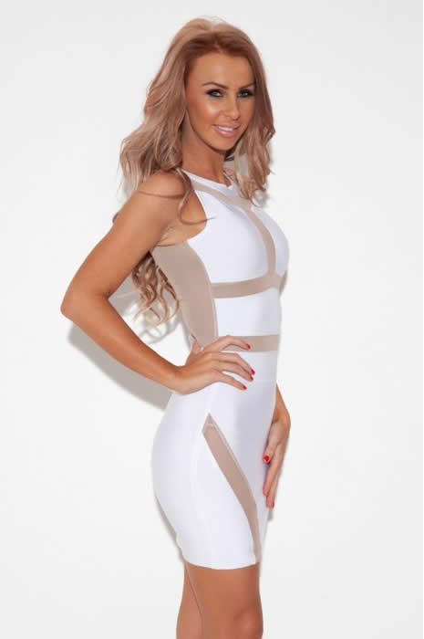 Paris Hilton White Dress Herve Leger Cutout Semi Transparent Dress