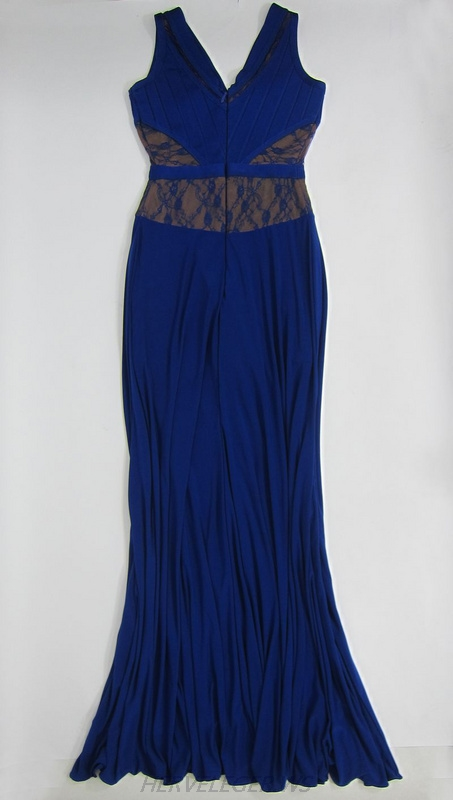 Herve Leger 2015 Black And Blue Multicolor V Neck Sleeveless Chiffon Gown