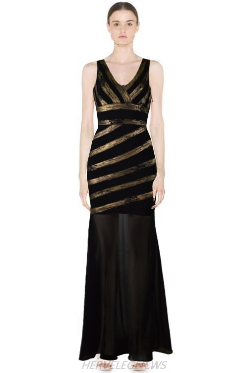 Herve Leger 2015 Black And Gold V Neck Gown