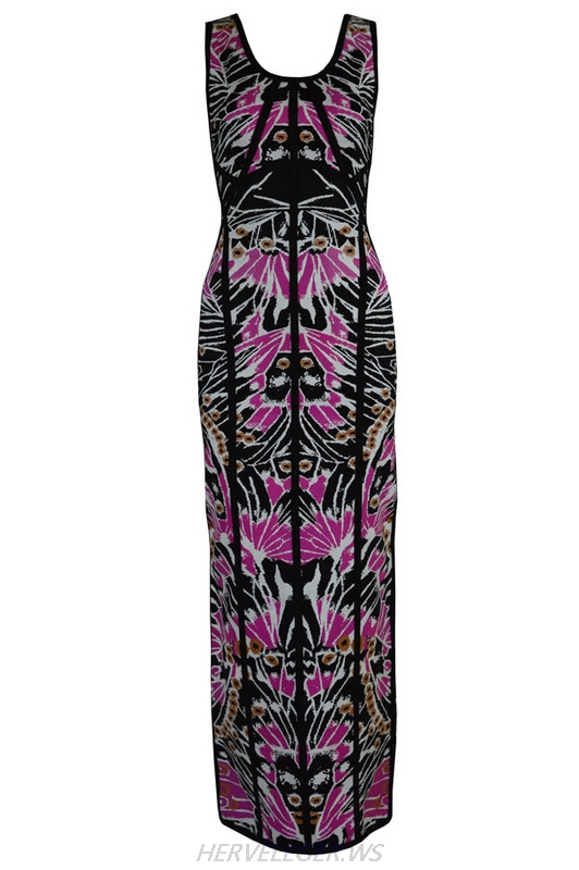 Herve Leger 2015 Black And Purple Colorblock Art Printing Gown