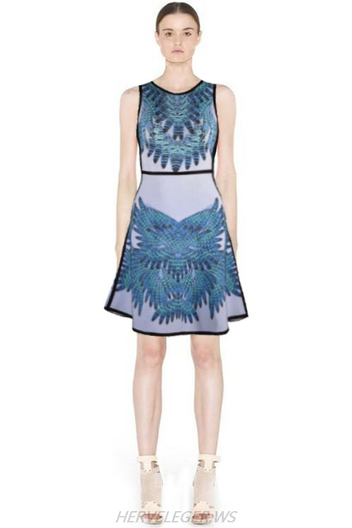 Herve Leger 2015 Blue Art Printing Sleeveless Dress