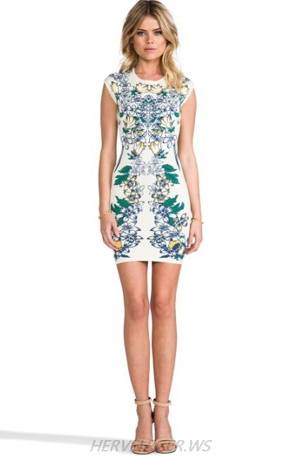 Herve Leger 2015 Sleeveless Art Printing Bandage Dress