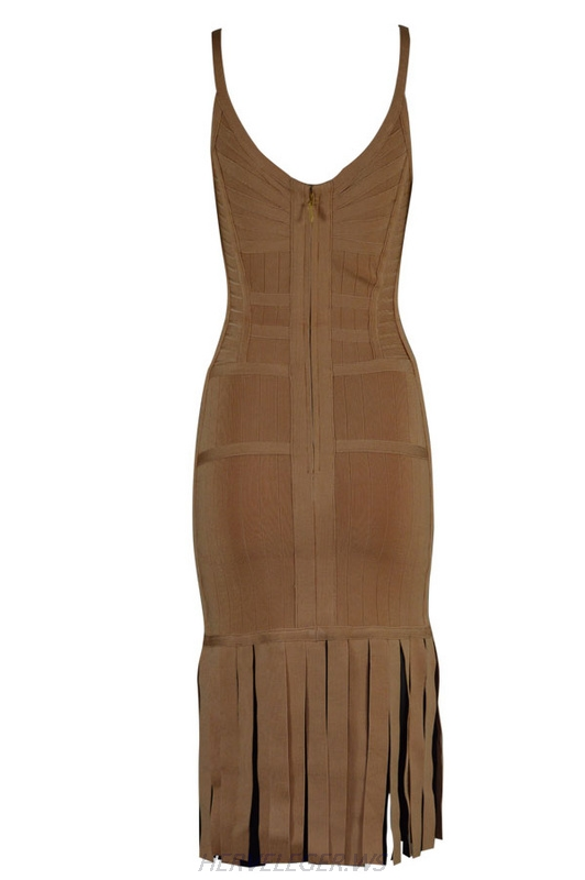 Herve Leger Black And Apricot Sleeveless Sling Fringed Dress