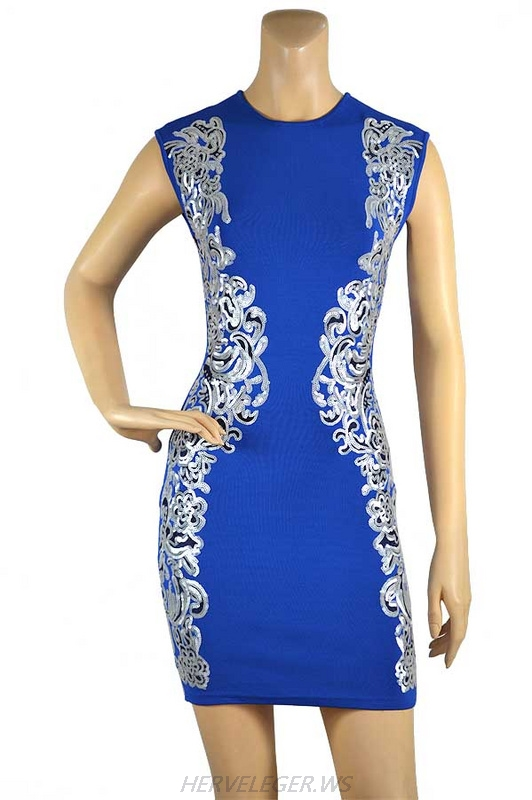 Herve Leger Black And Blue Multi Color Sequin Bandage Dress