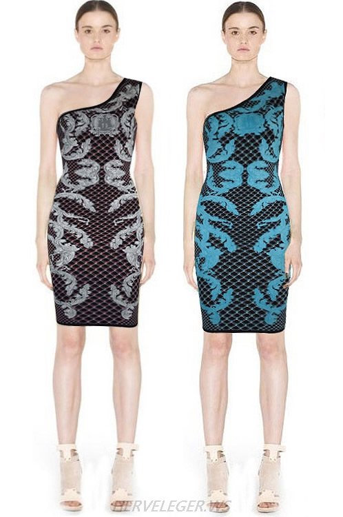 Herve Leger Black And Blue Multicolor One Shoulder Dress