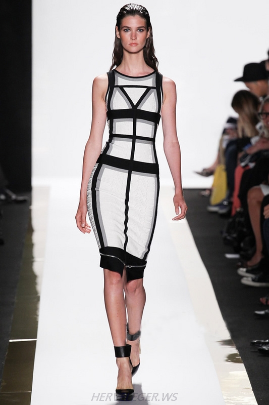 Herve Leger Black And White Geometric Strips Colorblock Bandage Dress