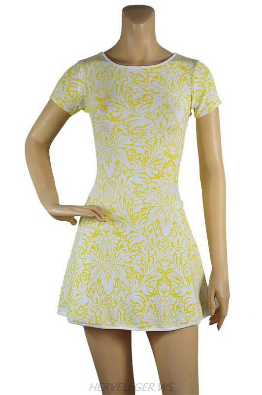 Herve Leger Black And Yellow Multi Color Art Printing A line Dress