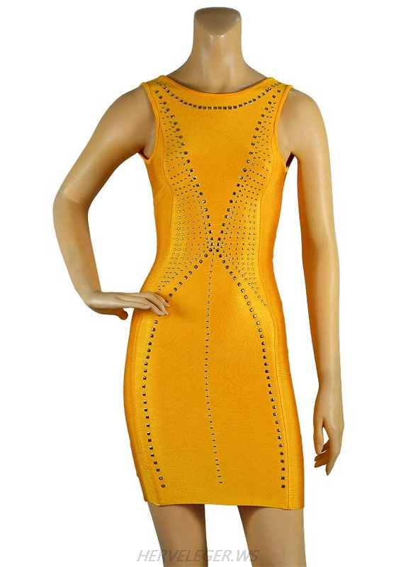 Herve Leger Black And Yellow Multi Color Beaded Sleeveless Halter Dress