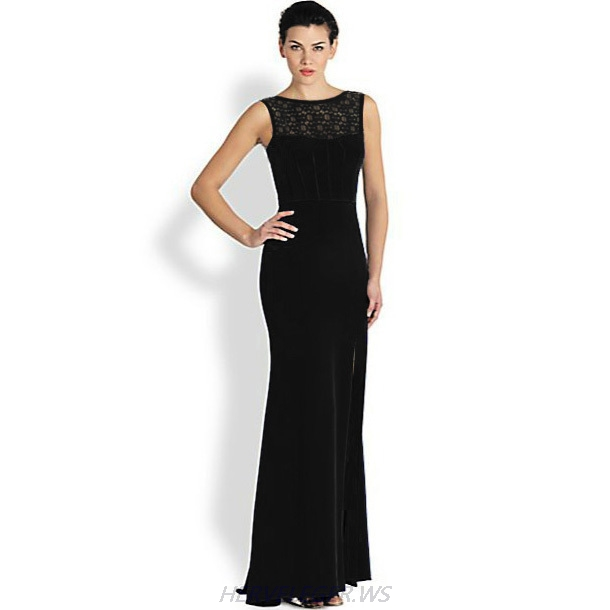 Herve Leger Black Lace Neckline Sleeveless Gown