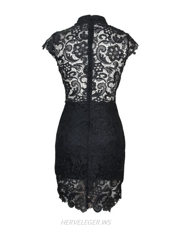 Herve Leger Black White And Red Multicolor Embroidery Lace Dress