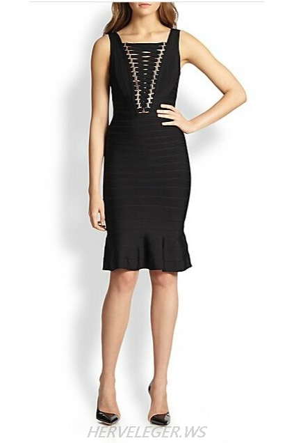 Herve Leger Black And Purple Multi Color V Black Mermaid Dress