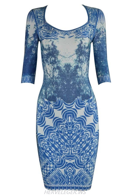 Herve Leger Blue And Dark Purple Short Sleeve Art Printed Bandage Dress