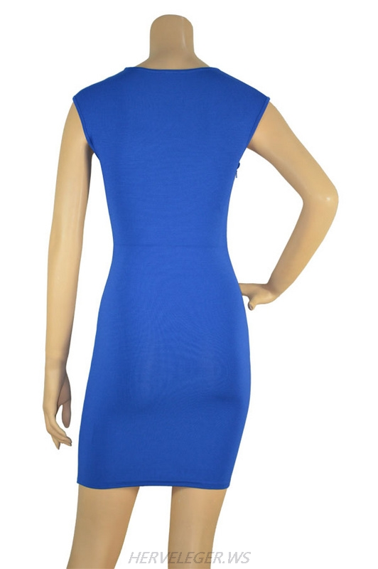 Herve Leger Multicolor Sleeveless Flocked Bandage Dress