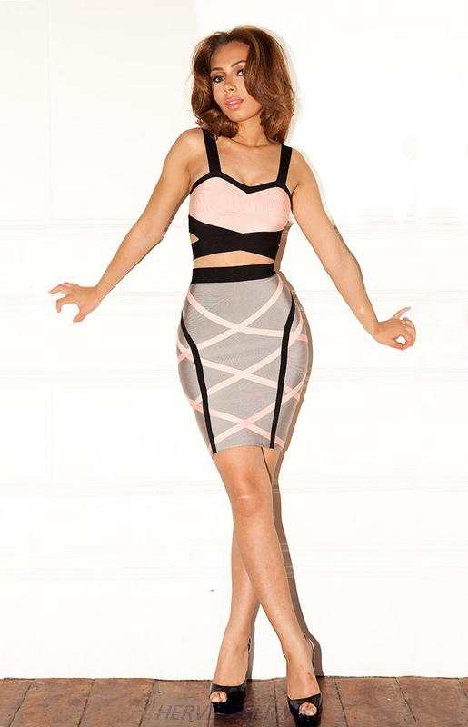 Herve Leger Pink And Grey Colorblock Cutout Dress
