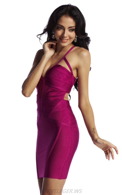 Herve Leger Purple And Red Multicolor V Neck Halter Bandage Dress