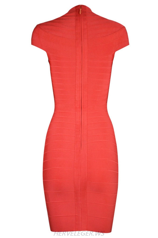 Herve Leger Red V Neck Cap Sleeve Bandage Dress