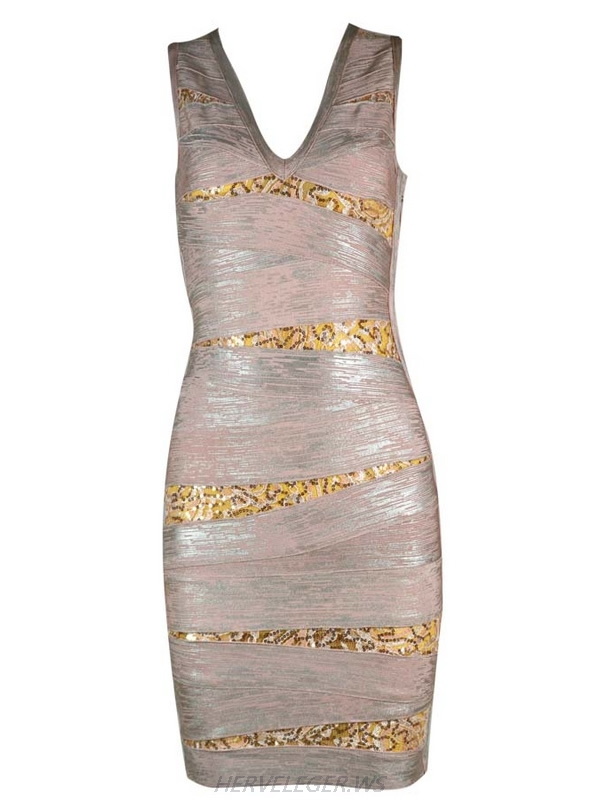 Herve Leger V Neck Multicolor Translucent Bandage Dress