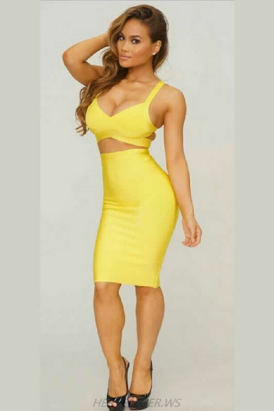 Herve Leger V Neck Two Pieces Multi Color Bandage Dress