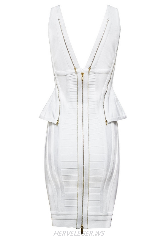 Herve Leger White And Black Multicolor V Neck Flounce Bandage Dress