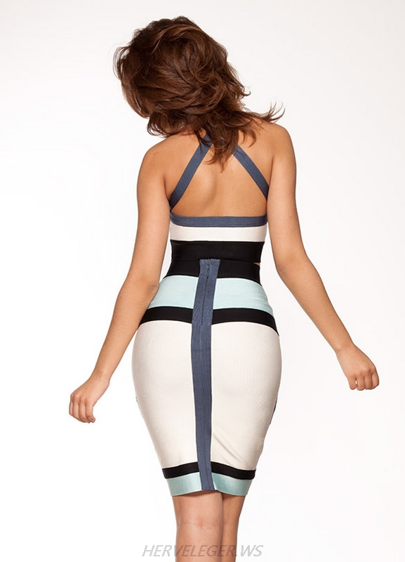 Herve Leger White And Blue Colorblock Halter Bandage Dress