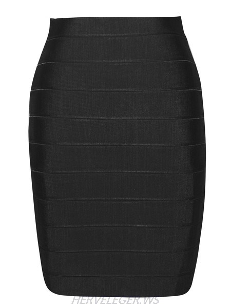 Herve Leger Black Pencil Cut Bandage Skirt