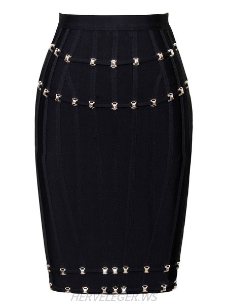Herve Leger Black Stud Detail Bandage Skirt