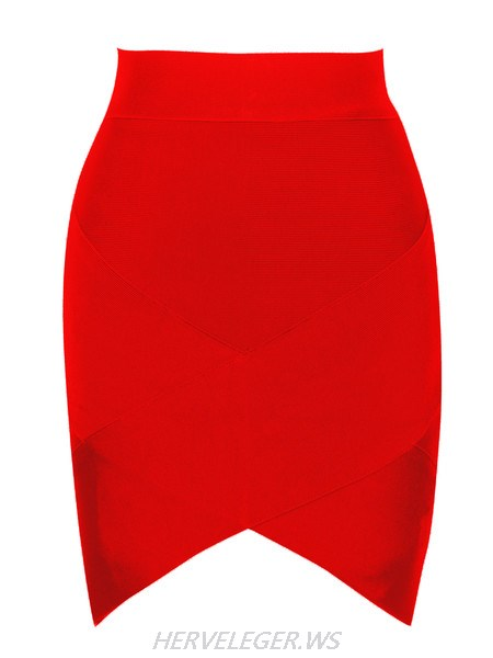 Herve Leger Red Petal Hem Bandage Skirt