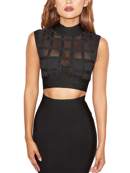 Herve Leger Ximena Black Mesh Lattice Cutout High Neck Crop Top