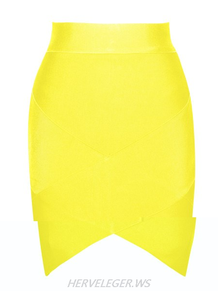 Herve Leger Yellow Petal Hem Bandage Skirt