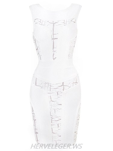 Herve Leger Abstract Detail Sheer Cutout Speak with Flair Dress