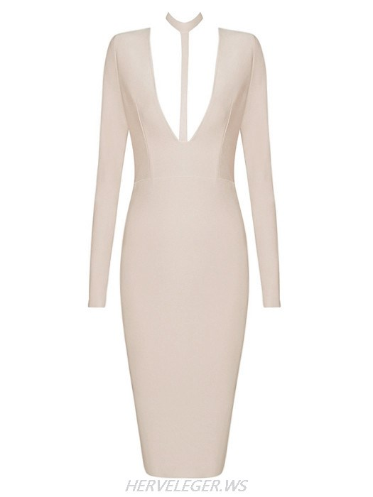 Herve Leger Beige Alba Choker Detail V Neck Long Sleeve Dress