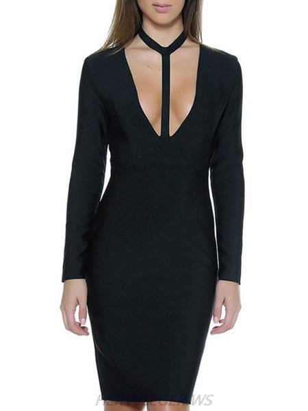 Herve Leger Black Alba Choker Detail V Neck Long Sleeve Dress