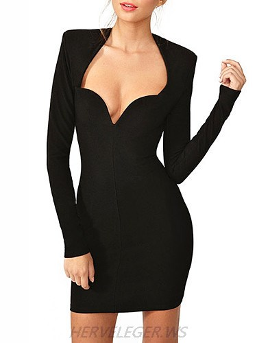 Herve Leger Black Long Sleeve Sexy V Neck Dress