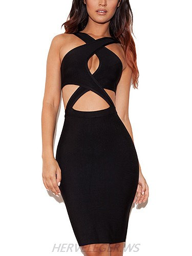 Herve Leger Black Marilyn Evening Dress with Criss Cross Straps and Cutout
