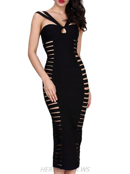 Herve Leger Black Zoe Cutout Detail Halter Top Dress
