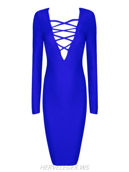 Herve Leger Blue Fiona V Neck Criss Cross Detail Dress