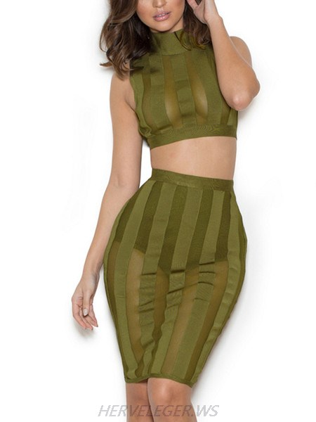 Herve Leger Caitlin Olive Turtleneck Two Piece Mesh Detail Dress