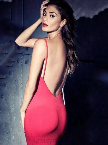 Herve Leger Cindy Red Open Back Dress