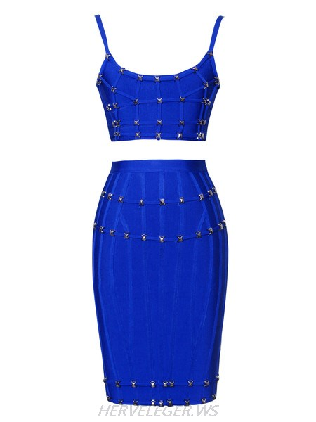 Herve Leger Cynthia Metal Studded Outline Detail Blue Two Pieces Dress