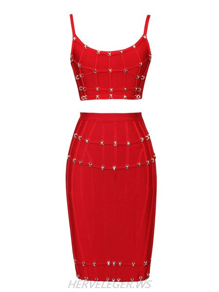 Herve Leger Cynthia Metal Studded Outline Detail Red Two Pieces Dress