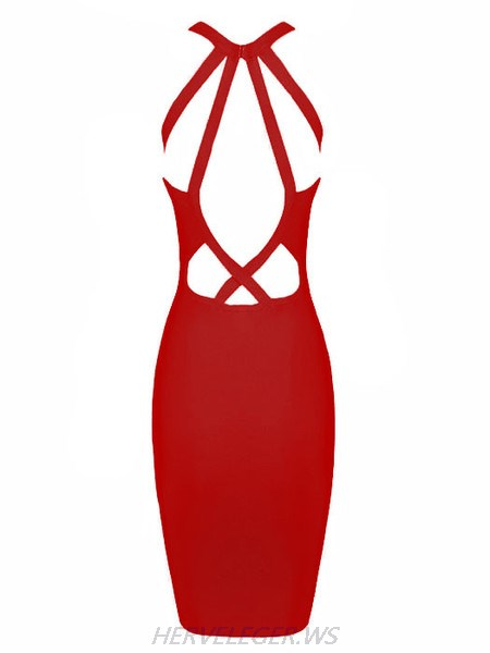 Herve Leger Eva Red Keyhole Cutout Detail Dress