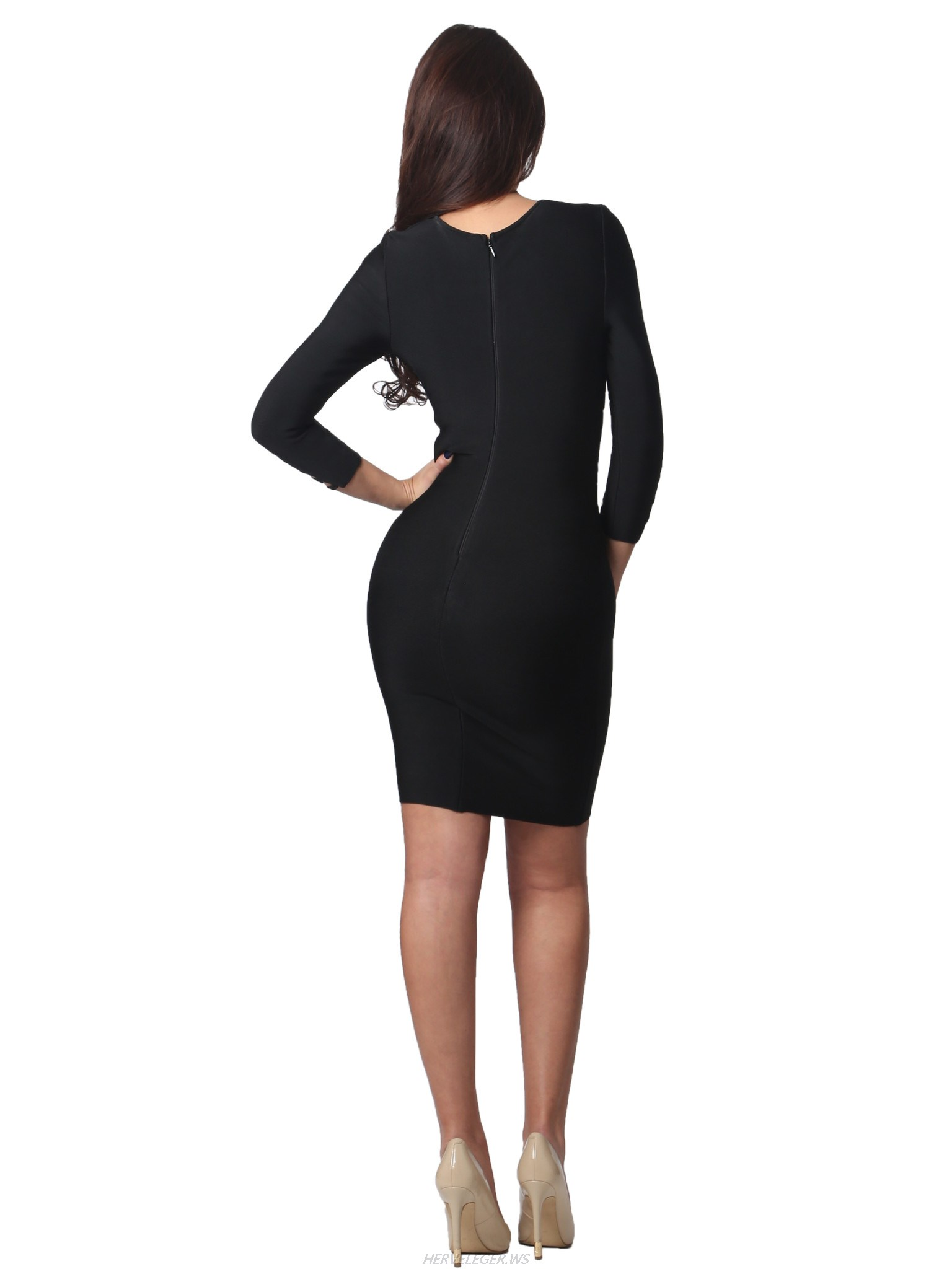 Herve Leger Gia Black Asymmetric Cut Out Lace Up Long Sleeve Dress